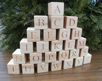 26 Wooden English alphabet blocks, Blocks with letters, Personalized blocks, Baby shower gift, Christmas gift, ABC, Wooden blocks