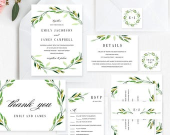 Green Foliage Wedding Suite Editable Template - Printable Wedding Invitation Set - Instant Download #GFC
