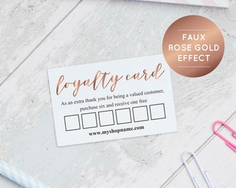 Rose Gold Loyalty Card Templates, INSTANT DOWNLOAD, Reward Card, Printable Loyalty Card, Business Stationery, 6 Spaces