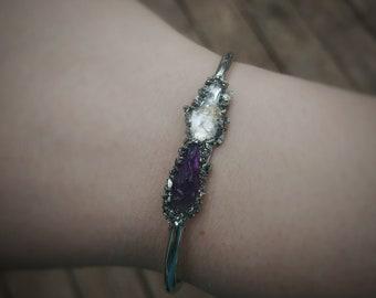 Amethyst Jewelry, Citrine Jewelry, Stone Bangle, February November Birthstone Bracelet, Gift for Girlfriend, Birthday Gift for Wife