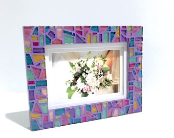 PURPLE LOVER GIFT, Purple Photo Frame, Colorful Picture Frame, Unique Mosaic Frame, Decorative Frame, Birthday Gift, Wedding Gift Frame