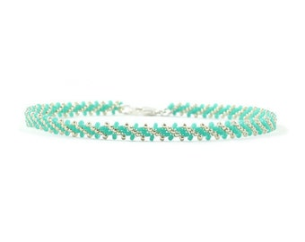 Beaded Bracelet - Turquoise Beads - Seed Bead Bracelet - Beadwork Jewelry - Chain Bracelet - Friendship Bracelet - Layering Bracelet