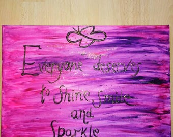 Pink sparkly positive canvas .