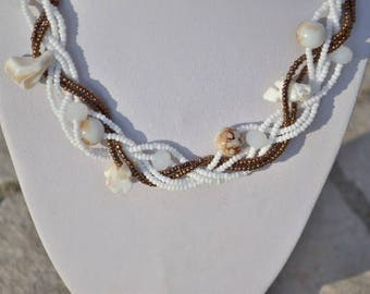 Braided white and brown necklace