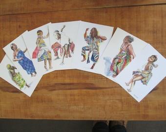set of 7 illustrated postcards