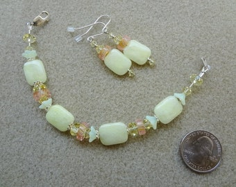 Pink, Yellow, Lampwork Glass, Yellow Quartz, Furnace Glass and Sterling Silver Beaded Bracelet and Earrings set - Handmade