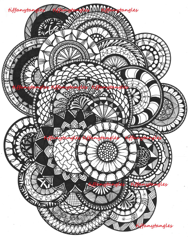 Página para colorear de círculo digital de Zentangle
