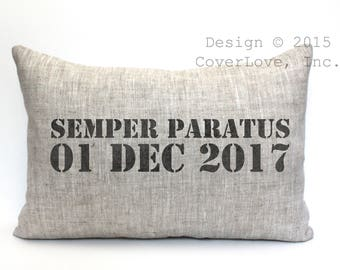 "semper paratus pillow, coast guard gift, military retirement gift, us coast guard gift, us coast guard retirement gift, - ""Semper Paratus"""