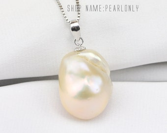 Large baroque pearl necklace,jumbo flameball pearl pendant necklace,big nucleated fireball pearl necklace,pink color baroque pearl pendant