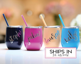 Wine tumbler, Personalized Wine Tumblers, Bridal Party Cups, Bridesmaid Cups, Team Bride, Bachelorette, Stemless Wine Cup, rose gold
