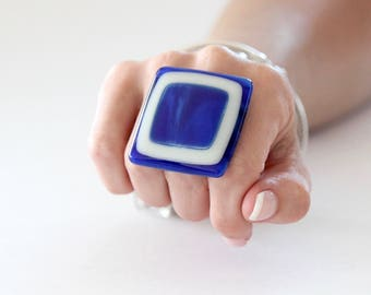 Big Statement Ring Handmade Fused Glass Ring  - New Year Fashion, large ring, bold ring, adjustable ring, cocktail ring