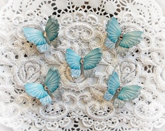 Reneabouquets Tiny Treasures Butterfly Set - Winter Teal Sky Premium Paper Glitter Glass Butterflies