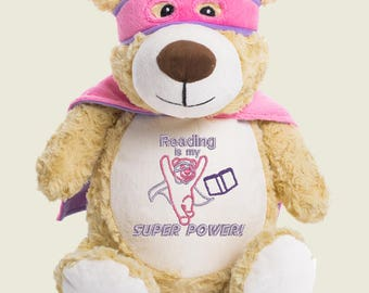 Cubbies Pink Hero Bear Super Power Reader Autism Personalized & Embroidered Monogrammed Stuffed Animal Gift