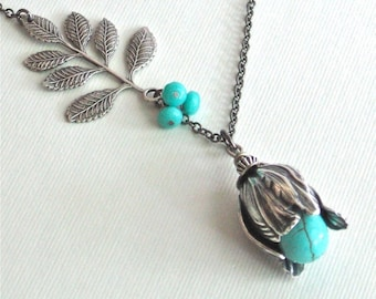 Turquoise Silver Flower Bud Necklace - Turquoise Necklace, Floral Jewelry, Nature Jewelry