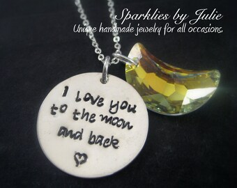 "To the Moon & Back - Hand stamped sterling silver necklace with Swarovski AB Moon, from the book ""Guess How Much I Love You"""