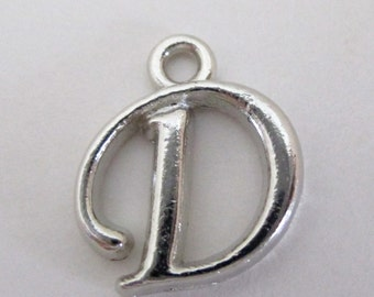 8 Letter D Beads - Silver Charm Uppercase Alphabet - Alphabet Initial Pendant - Jewelry findings - 8 PCS - Personalized Jewelry - Bulk Price