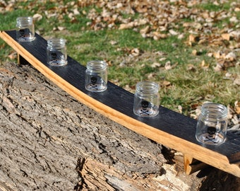 Bourbon Flight made from a Whiskey Barrel Stave, 5 Mini Mason Jar Shot Glasses, Concave, Skull and Crossbones, Made in USA, Free Shipping