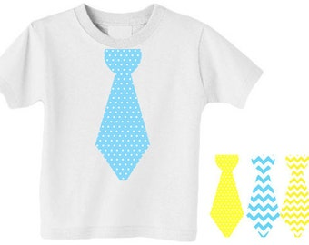 Instant Download Little Mister Tie Iron-On Transfers Blue and Yellow