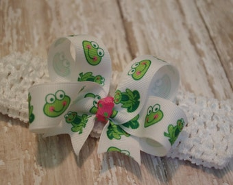 Baby Headband Frog Infant/Toddler Headband Frog Pink & Green Pageant
