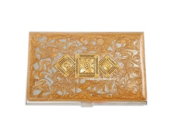 Art Deco Business Card Case Inlaid in Hand Painted Enamel Gold Swirl Design Neo Victorian Medalion Personalized and Custom Color Options
