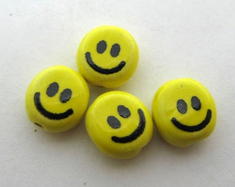 10 Tiny Smiley Face Beads
