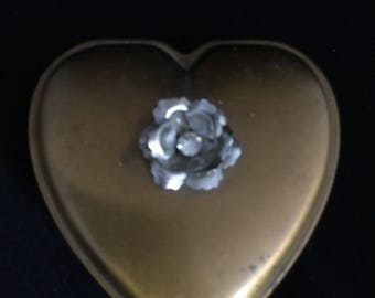 Vintage Hinged Brass Heart Trinket Box With Silver Flower Embellishment 1930's