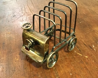 Rare Electric Car Toast Rack, Antique English Silver Plate, Ca: 1910.