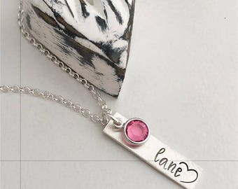 Mommy Necklace - Personalized Mom Necklace - Hand Stamped Mom Jewelry - Birthstone Necklace - Grandma Necklace - Personalized Hand Stamped