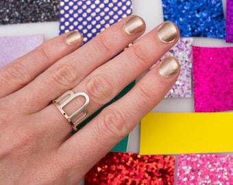 14k Rose Gold Sterling Silver Black & White Diamond Ring, Rose Gold Ring, Mixed Metal, Black Diamond Rose Gold Ring, Art Deco Ring