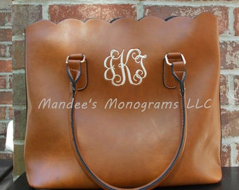 Monogrammed Scalloped Handbag, Monogrammed Scalloped Tote, Monogrammed Scalloped Purse, Monogrammed Faux Leather Handbag, Faux Leather Purse