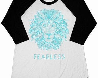 Fearless Lion Shirt Kids Clothes Raglan Baseball Tee T-shirt Toddler Youth Girls Boys Strong Positive Message Empowered Boys Girls