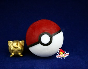 Imprimée en 3D affichage Pokemon, Pokemon Portable, Rondoudou métal à l'intérieur de la Pokéball au savon, affichage Pokemon, Pokeball affichage, affichage Pokeball