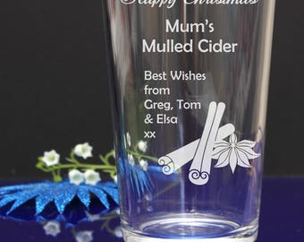 Personalised Engraved Happy Christmas Mulled Cider pint glass/ Your short message, wishes -X-mas gift,present idea 70
