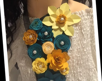 Paper Flower Bib Necklace
