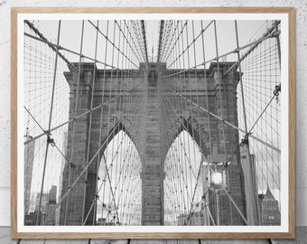 Brooklyn Bridge Print, New York City, New York City Photo, Black and White Photography, Travel Photo, Brooklyn Photo, New York City Print