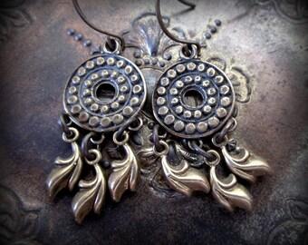 Bohemian Style Solid Bronze Earrings