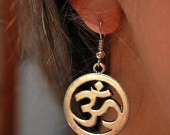 Om ohm earrings, Spiritual earrings, hippie earrings, ohm yoga earrings, buddhist earrings, meditation earrings