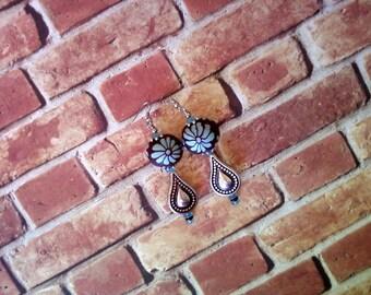 Brown and Aqua Flower Earrings (1784)
