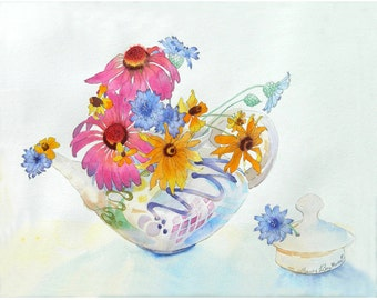 Floral painting, Teapot bouquet, Floral, flower wall art, modern art, Original, Watercolor Painting, Watercolour, floral wall art, 15 x 19