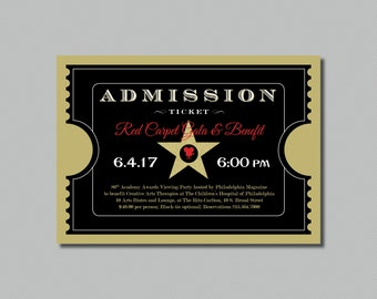 Printable - Red Carpet Gala - Hollywood - Oscars/Academy Awards Viewing Party - Admission Ticket Invitation