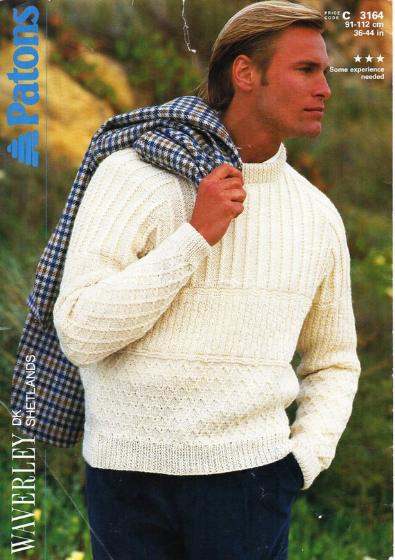 Mens Sweater Knitting Pattern Pdf Mens Crew Neck Sweater Mens