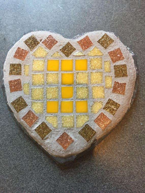Letter \'I\' mosaic slate coaster.Rustic home art decor.