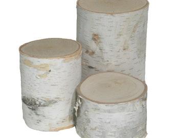 "White Birch Pillars (set of 3 - 3,5,7"" tall x 3.5-5"" dia.)"