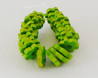 Vintage .. 10mm Wood Beads, Flower Spacer, Peridot Green