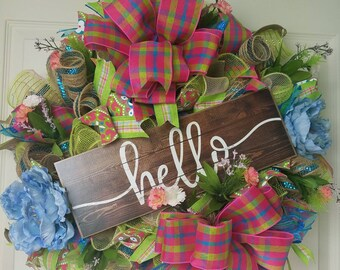 Hello Spring Welcome wreath, Home wreath, Spring wreath, Summer wreath, Welcome wreath, Spring decor, Spring Floral Wreath