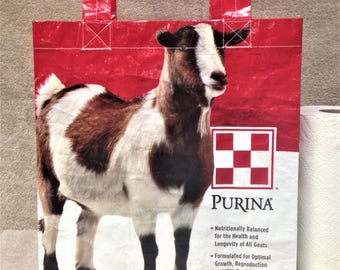 Recycled Feed Bag Tote, reusable tote bag, grocery tote, recycled shopping bag, reusable grocery bag, recycled tote bag, goat, Purina, goats