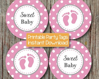 Baby Shower Cupcake Toppers Gum Pink Grey Sweet Baby Feet INSTANT DOWNLOAD Printable Cupcake Topper 246