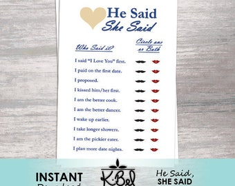 Bridal Shower Game / Engagement Party Game - He Said, She Said - Classic Blue Heading - Instant Download / Printable