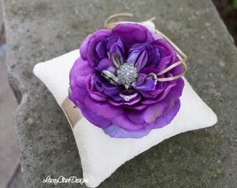 Dupioni Silk Ring Pillow, Purple Wedding Ring Pillow, Wedding Pillow, Wedding Cushion Pillow, Ring Cushion, Flower Pillow - Custom Made