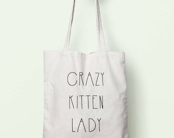 Crazy Kitten Lady Tote Bag Long Handles TB00386